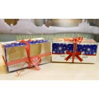 """Коробка для капкейков №3 """"Новогодняя серия"""" на 2 шт."""