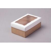 Коробка 18*11*7 см с окном белая/крафт