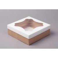 Коробка 24*24*10 см с окном белая/крафт