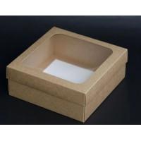 Коробка 24*24*10 см с окном крафт