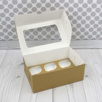 Коробка для 6 капкейков Крафт с окном