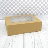 Коробка для 12 капкейков с окном крафт