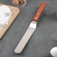 Лопатка-палетка №4 с деревянной ручкой, изогнутая