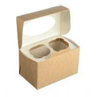 Коробка на 2 капкейка крафт с окном